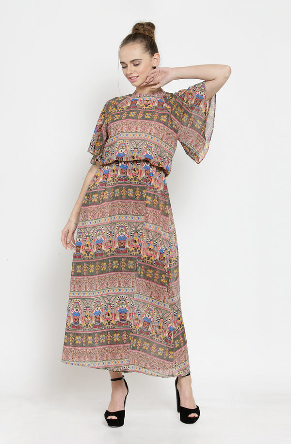 Multi-Color Maxi Dress with Cape Sleeves