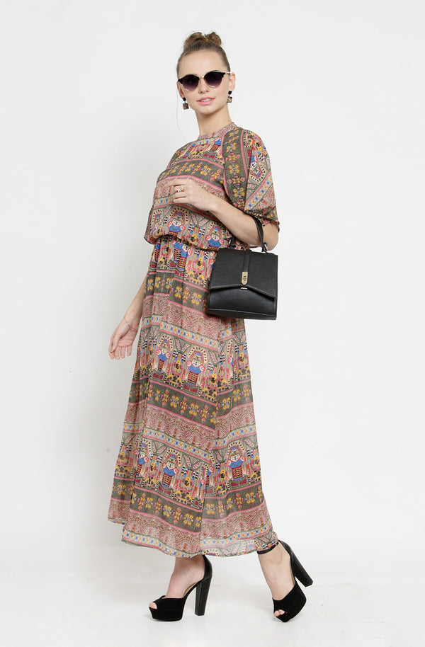 Multi-Color Maxi Dress with Cape Sleeves by Afamado
