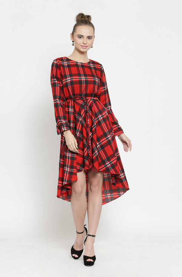 Red Checkered Asymmetric Dress by Afamado