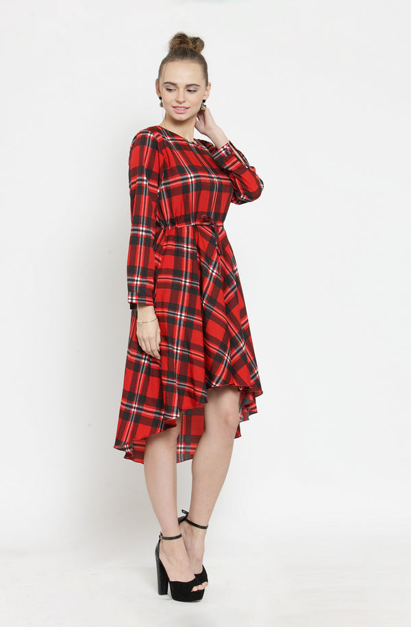 Red Checkered Asymmetric Dress