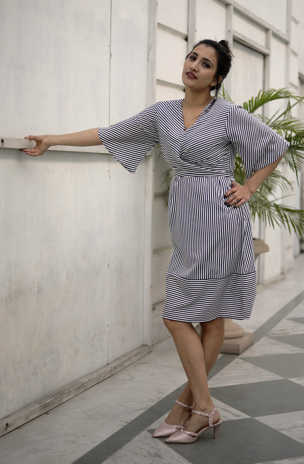 A Line Striped V Neck Dress by Afamado