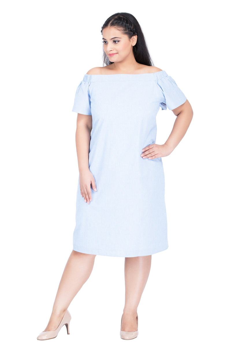 Off-Shoulder A-Line Dress by Afamado