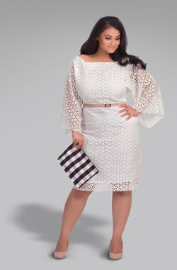 Boat Neck Fit and Flare Schiffly Dress