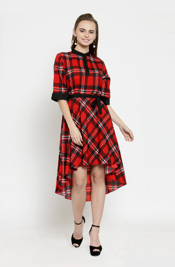 Asymmetric Checks Dress