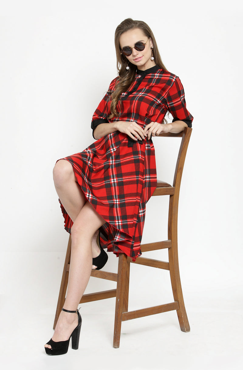 Asymmetric Checks Dress by Afamado