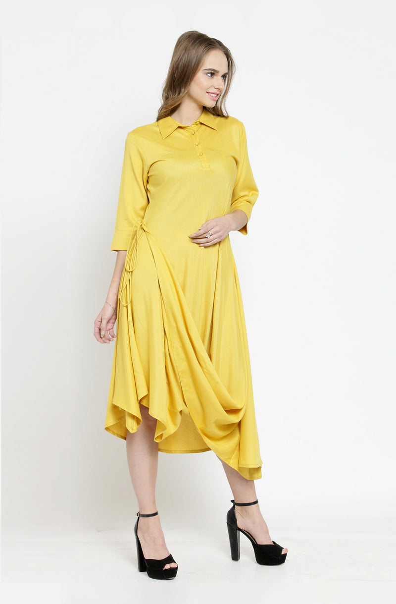Draped Cotton Dress