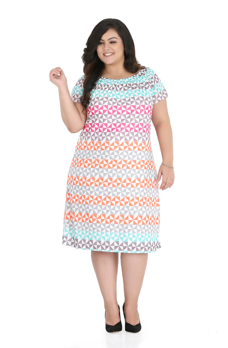 Printed Straight Fit Dress by Afamado