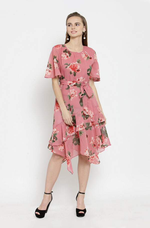 Floral sheer assymetrical Dress