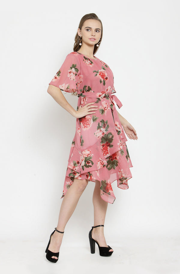 Floral Sheer Asymmetrical Dress by Afamado