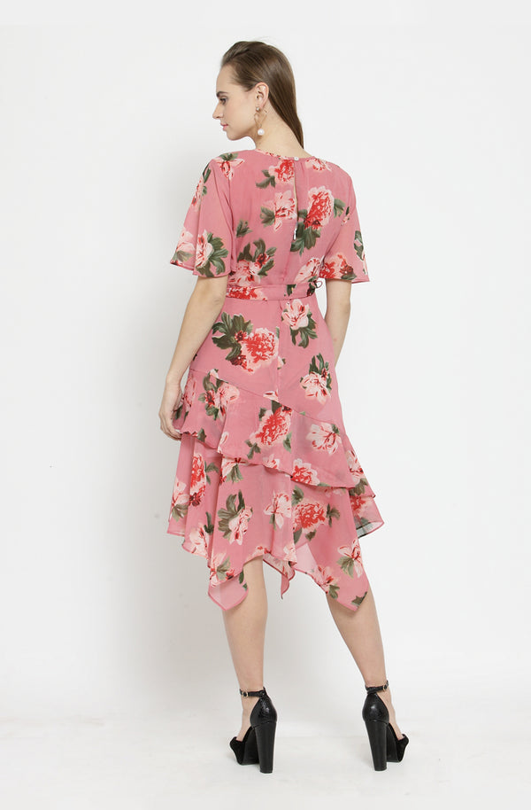 Floral Sheer Asymmetrical Dress