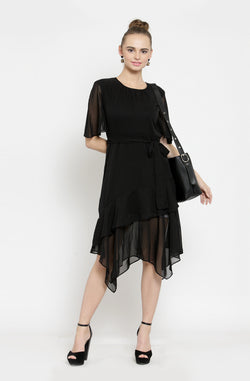 Asymmetric Sheer Party Dress by Afamado