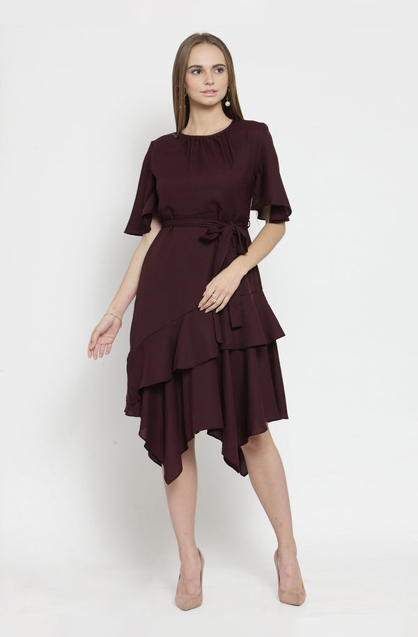 Floral Sheer Wine Asymmetrical Dress