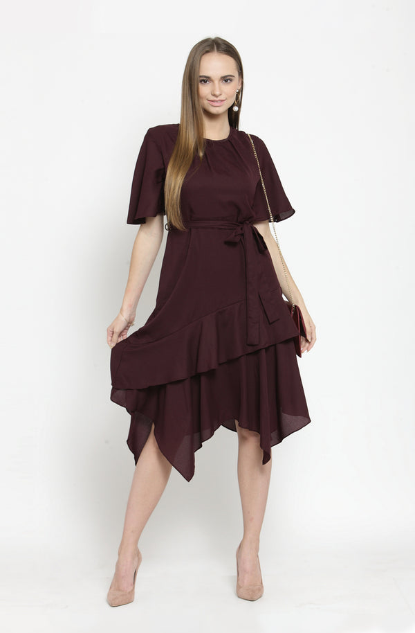 Floral Sheer Wine Asymmetrical Dress by Afamado