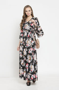 Overlap Neck Maxi Dress by Afamado
