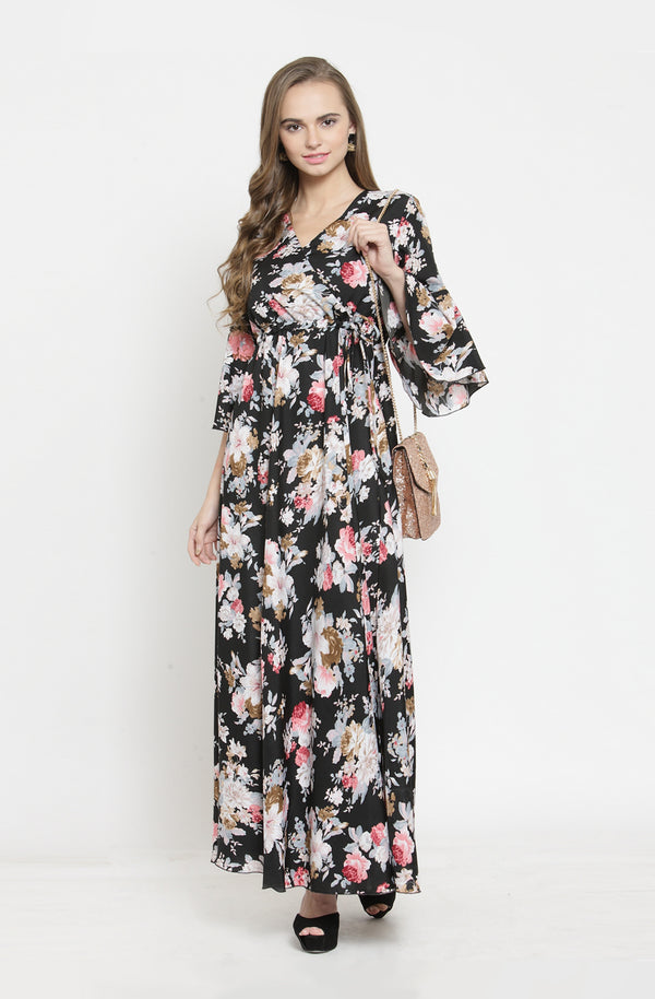 Overlap Neck Maxi Dress