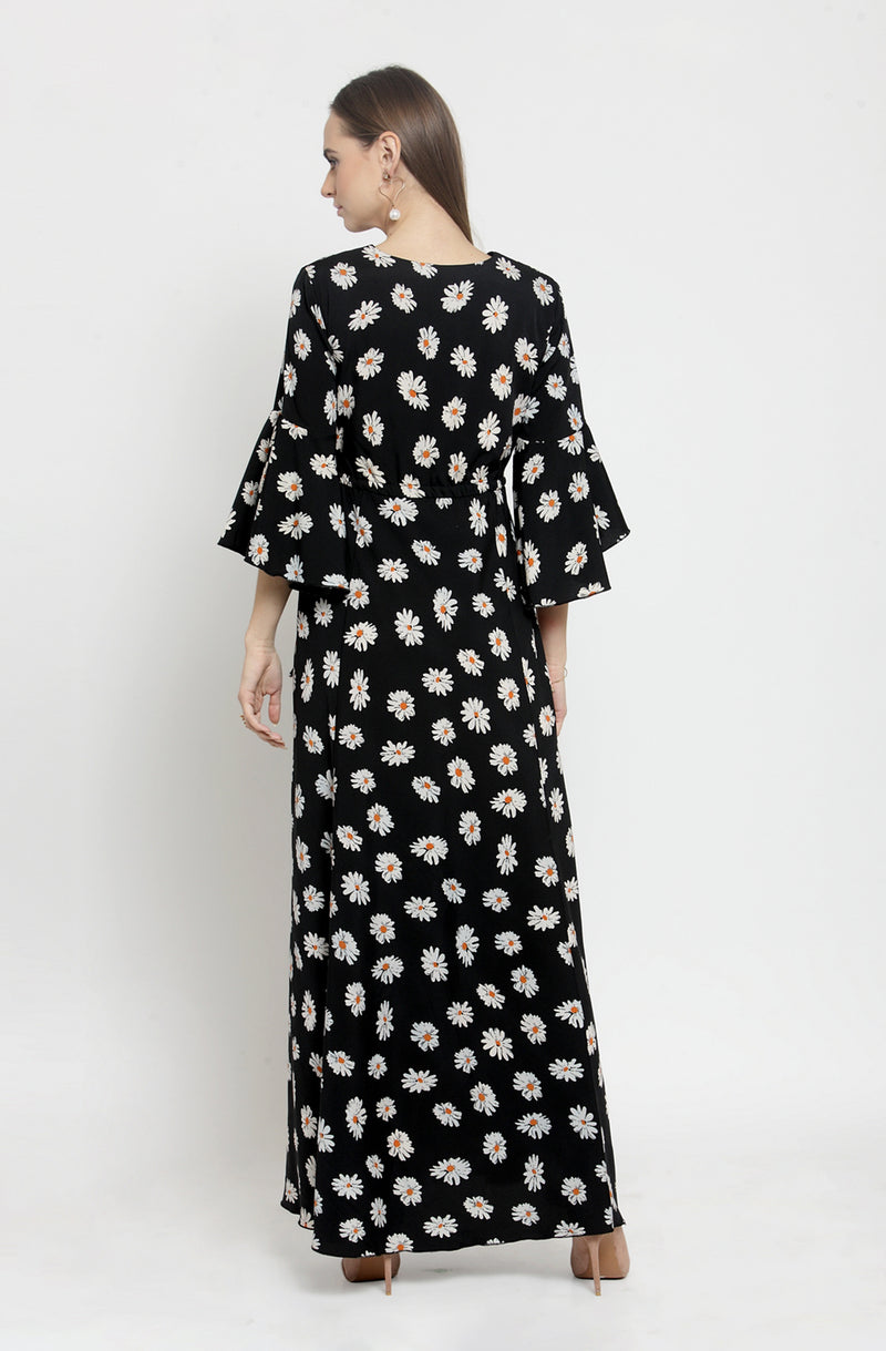 Black Overlap Neck Maxi Dress