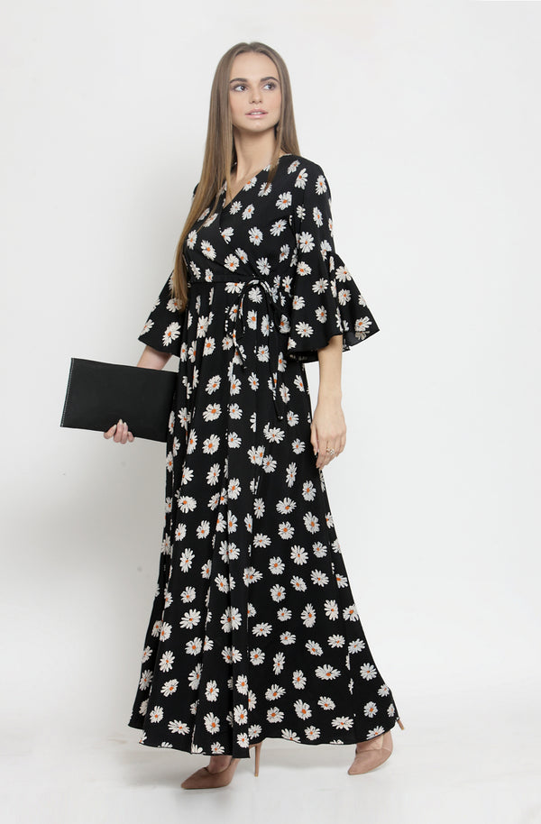 Black Overlap Neck Maxi Dress by Afamado