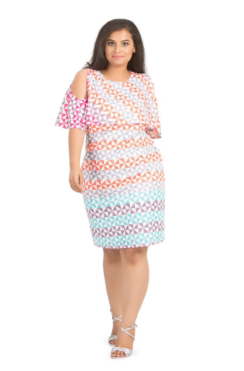 Cold-Shoulder Printed Dress by Afamado