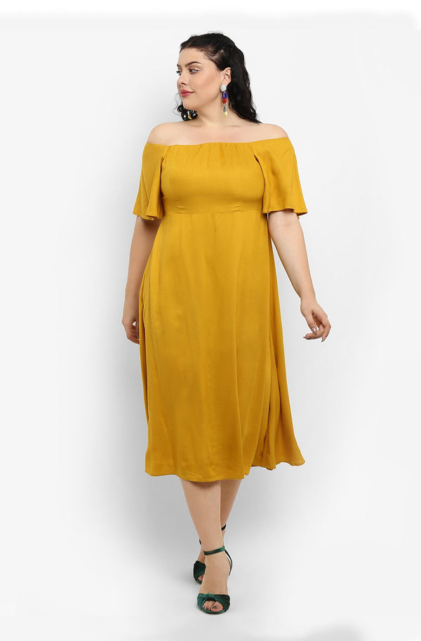Yellow Off-Shoulder Fit and Flare Dress