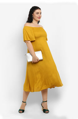 Yellow Off-Shoulder Fit and Flare Dress by Afamado