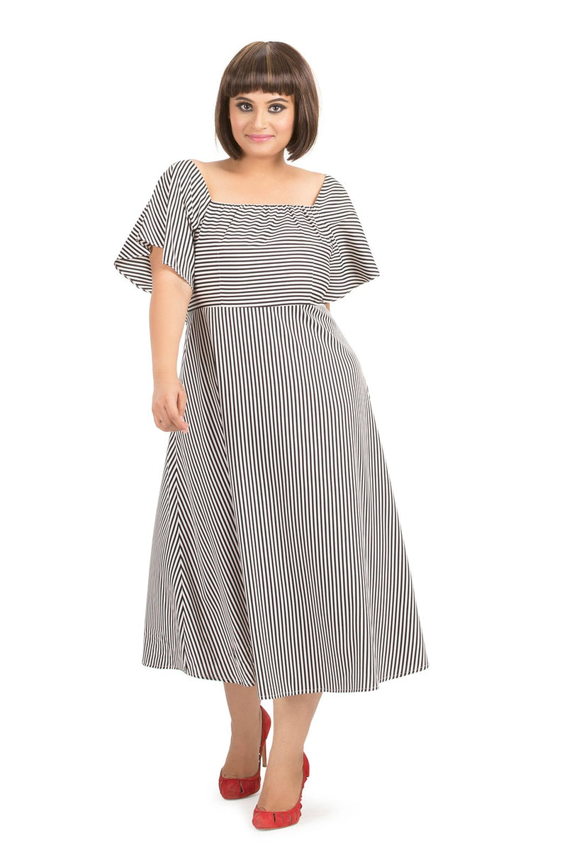 Square Neck Striped Dress