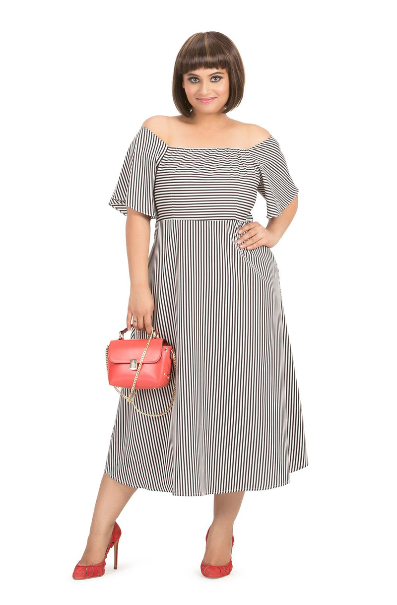 Square Neck Striped Dress by Afamado