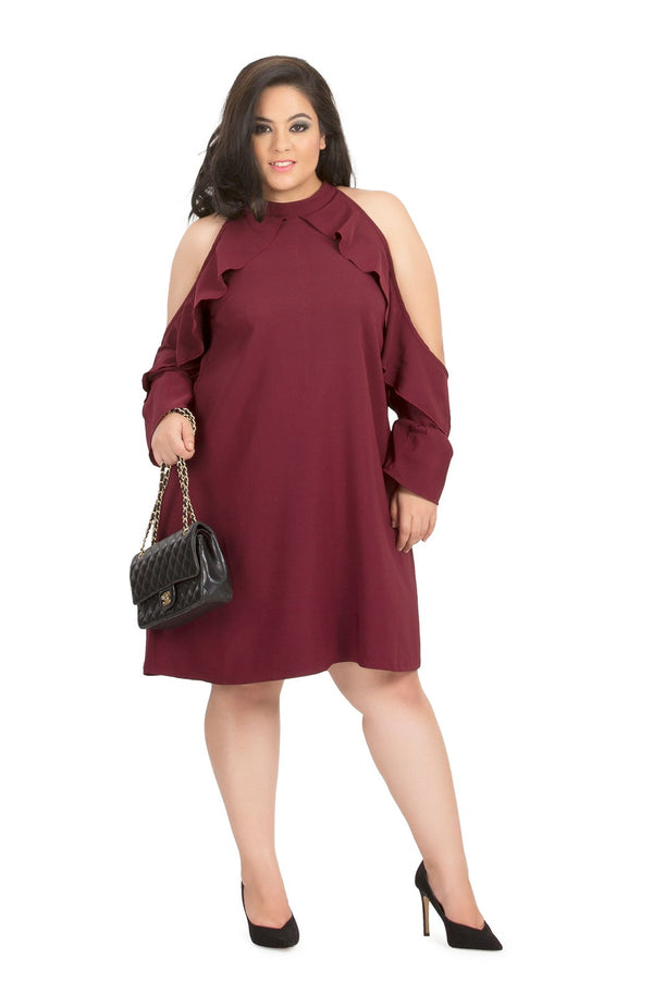 Solid Ruffle Cold-Shoulder Dress by Afamado
