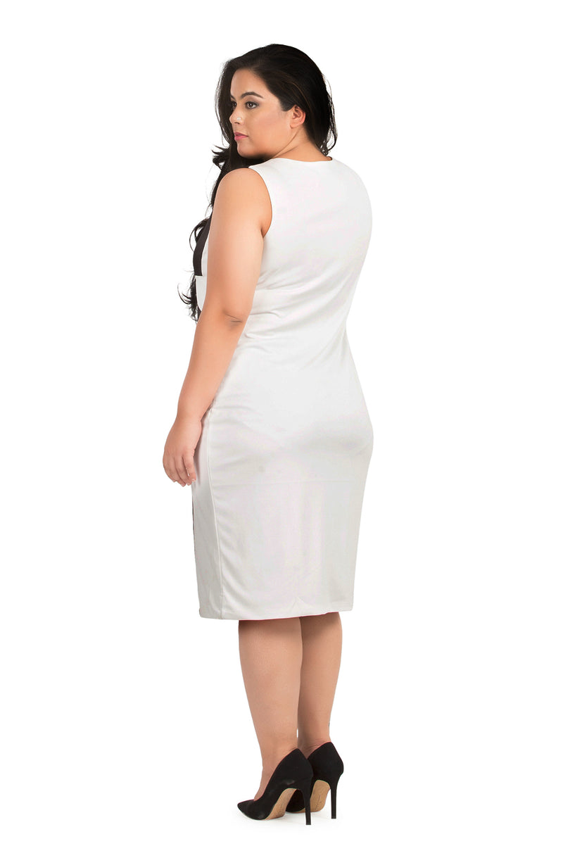 Sleeveless Monochrome Bodycon Dress
