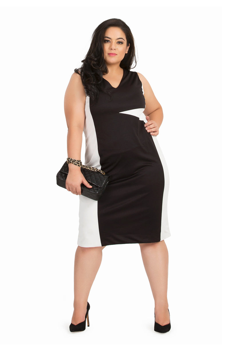 Sleeveless Monochrome Bodycon Dress by Afamado