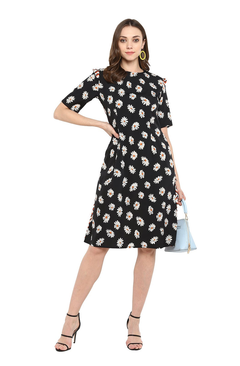 Floral Print A-Line Dress by Afamado