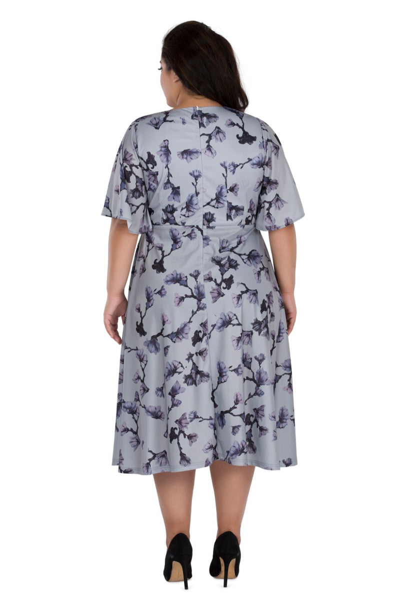 A line Knee Length Printed Dress