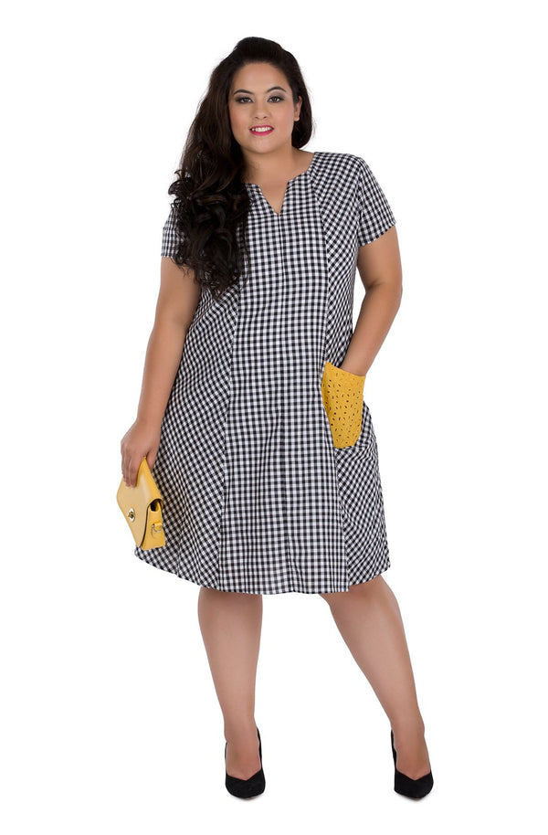 Gingham A-Line Dress by Afamado
