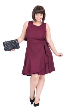 Burgundy Fit & Flare Party Dress by Afamado