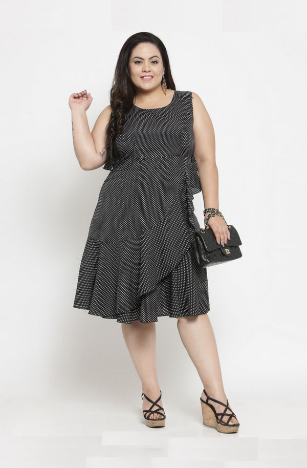 Sleeveless Fit and Flare Ruffle Party Dress by Afamado