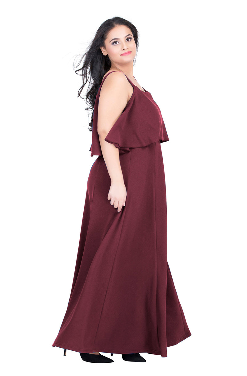 Burgundy Strappy Sleeve Party Dress