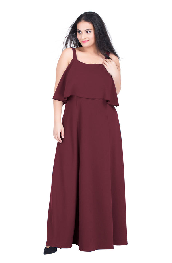 Burgundy Strappy Sleeve Party Dress by Afamado