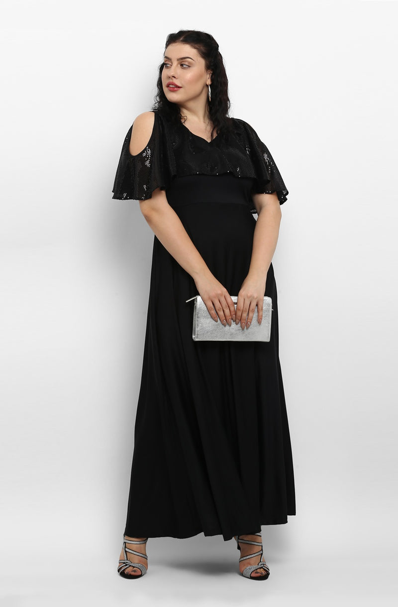 Black Cold-Shoulder Maxi Dress by Afamado