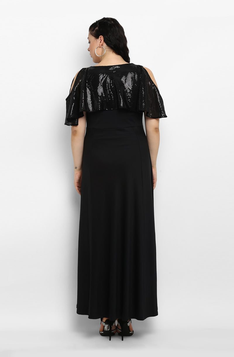 Black Cold-Shoulder Maxi Dress
