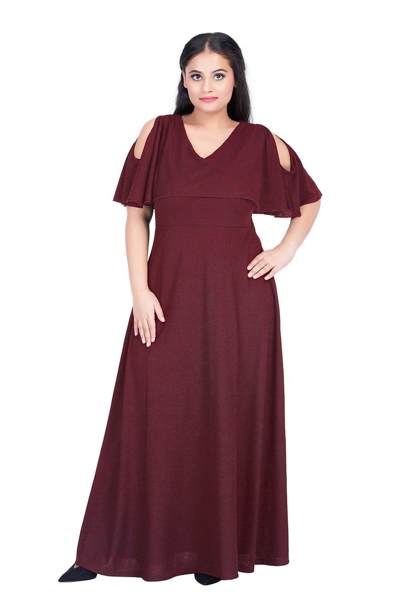 Cold-Shoulder Maxi Dress by Afamado