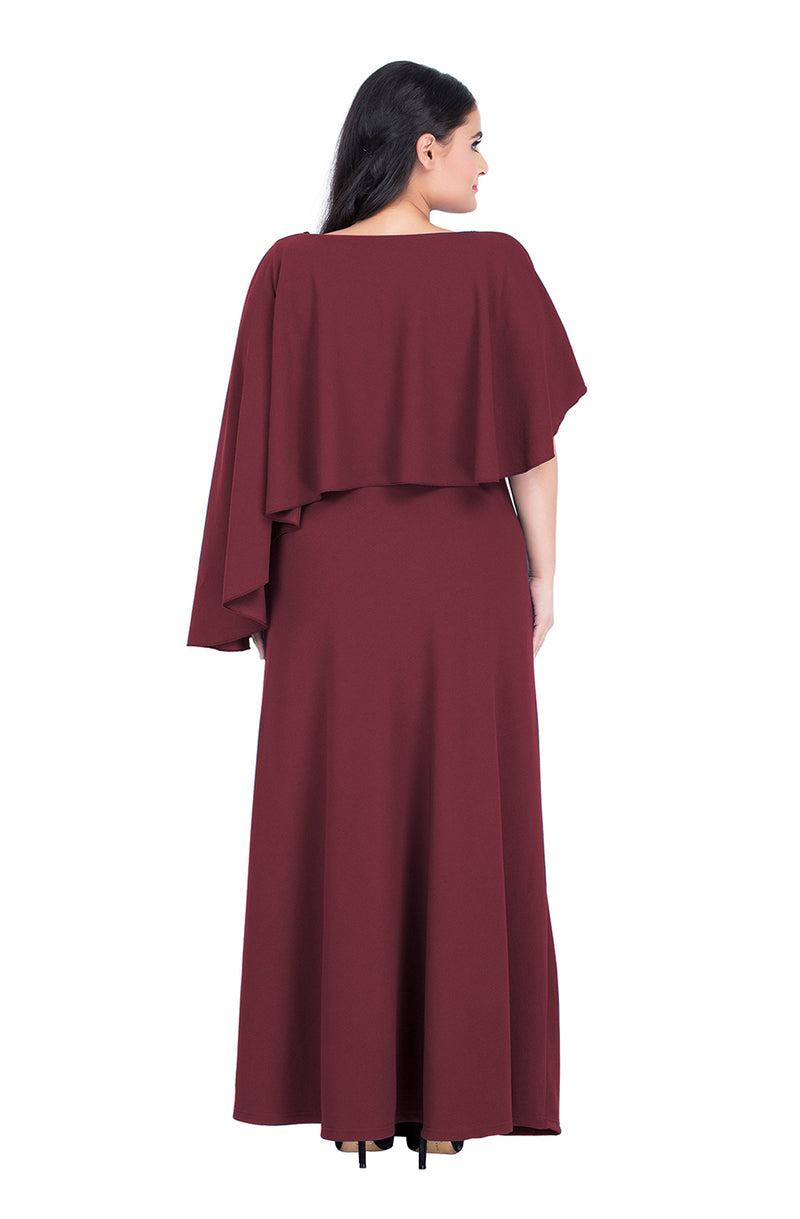 Beautiful Burgundy Overlay Maxi Dress