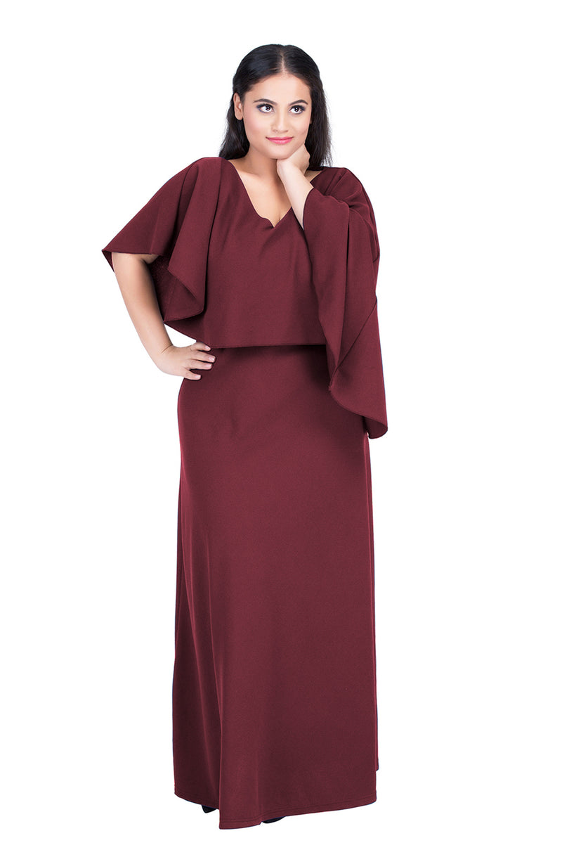 Beautiful Burgundy Overlay Maxi Dress by Afamado
