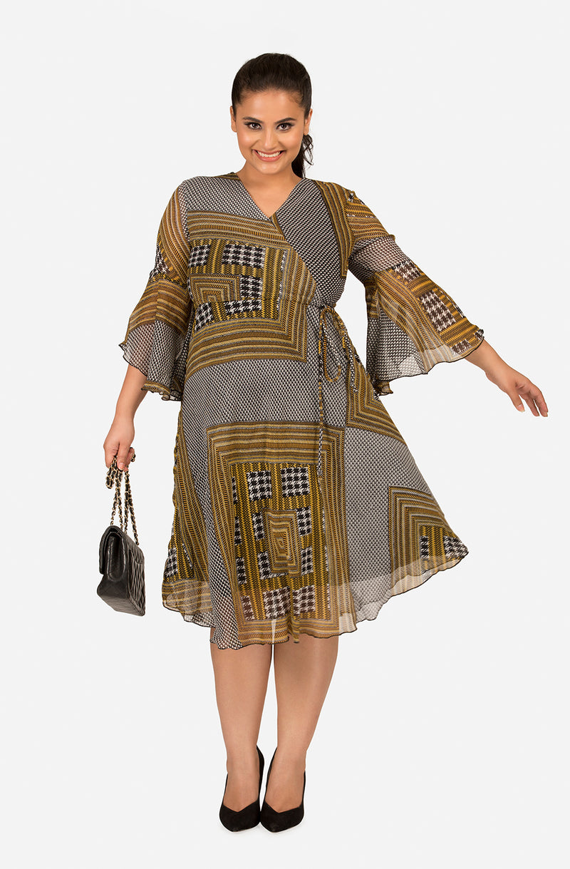 Casual Asymmetrical Printed Dress by Afamado