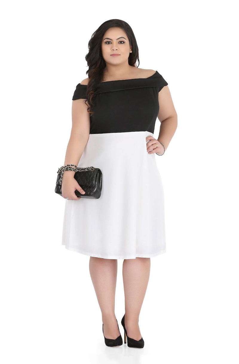 Black & White Off Shoulder Fit and Flare Dress by Afamado