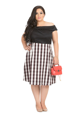 Gingham Print Off-Shoulder Dress by Afamado