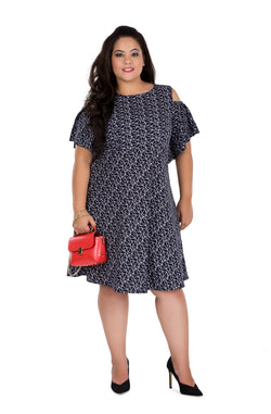 Quirky Printed Cold-Shoulder Dress by Afamado