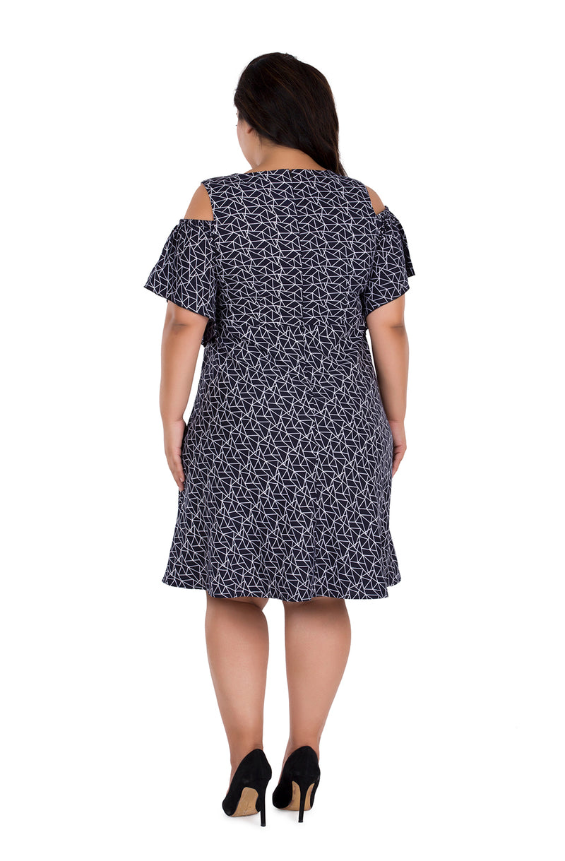 Quirky Printed Cold-Shoulder Dress