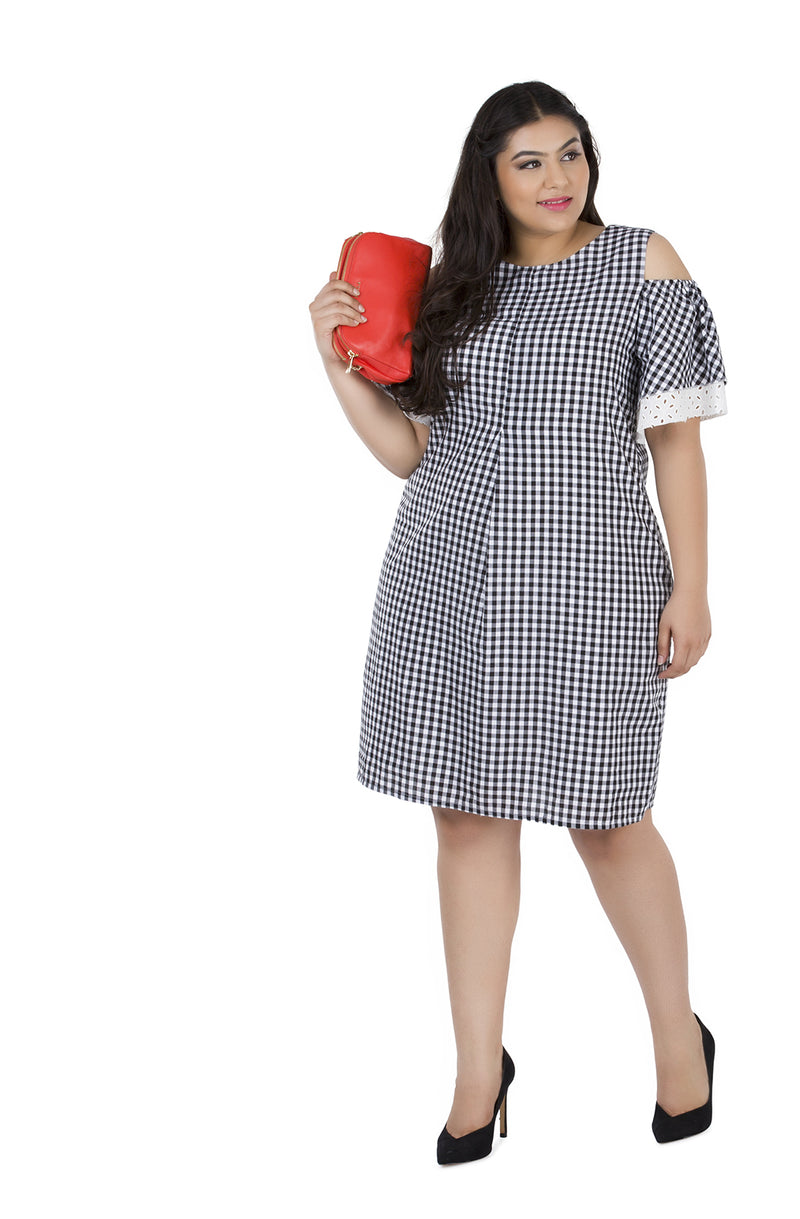 Gingham Layered Ruffle Dress by Afamado