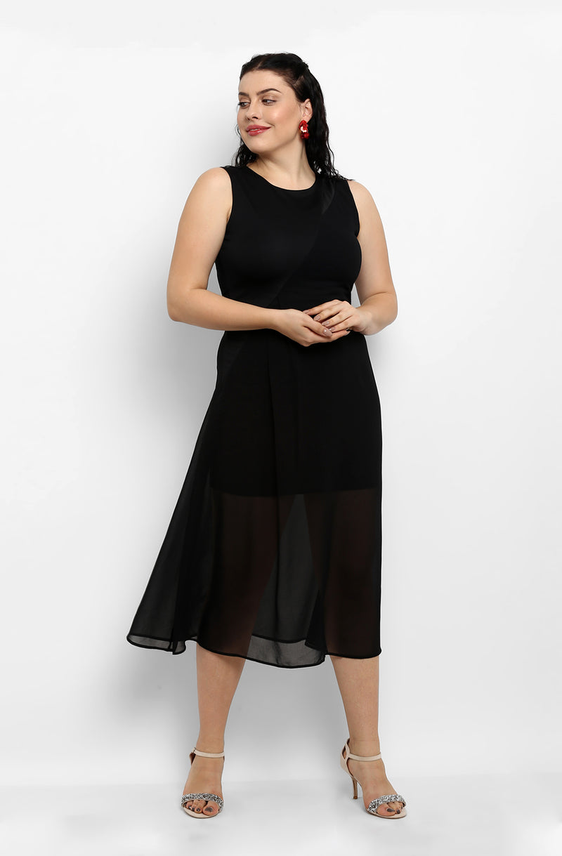 Solid Black Fit and Flare Casual Dress by Afamado