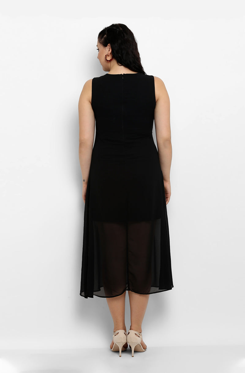 Solid Black Fit and Flare Casual Dress