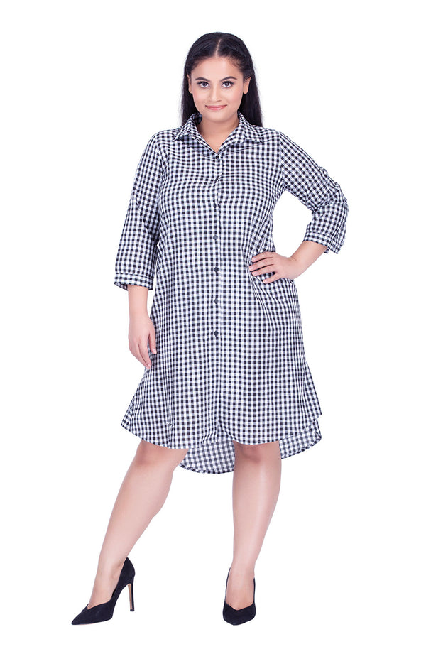 High-Low Gingham Print Dress